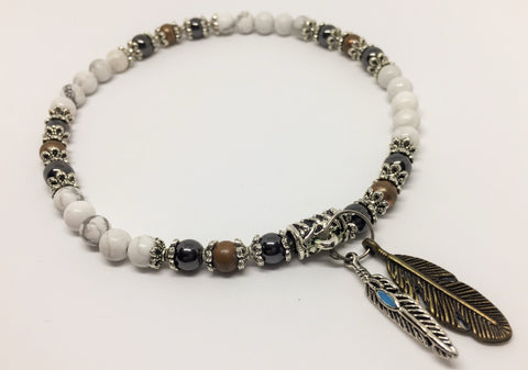 Howlite, Copper & Magnetic Hematite Healing anklet with Feather charms