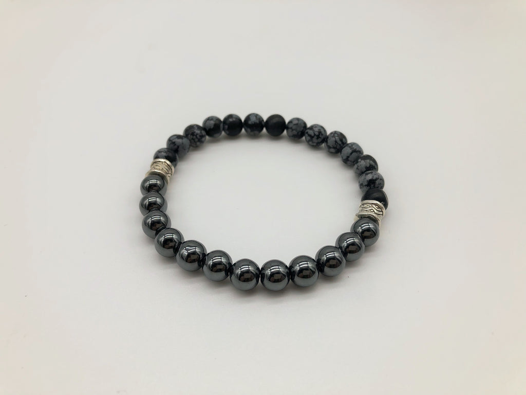 Gentleman's Hematite & Snowflake Obsidian Emotionally Grounding Bracelet