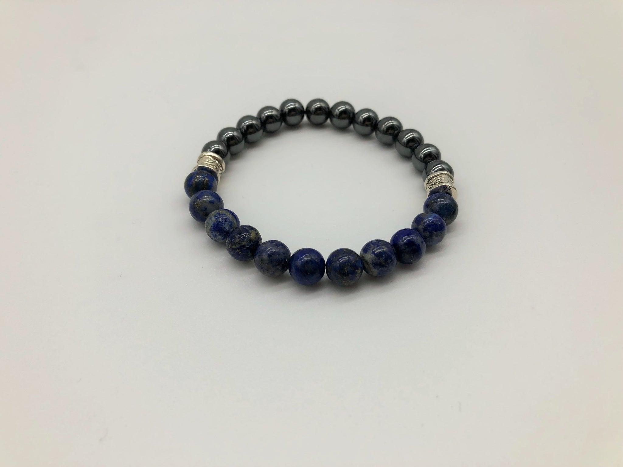 Gentleman's Lapis Lazuli & Hematite Bracelet promoting Positivity, Happiness & Emotionally Grounding