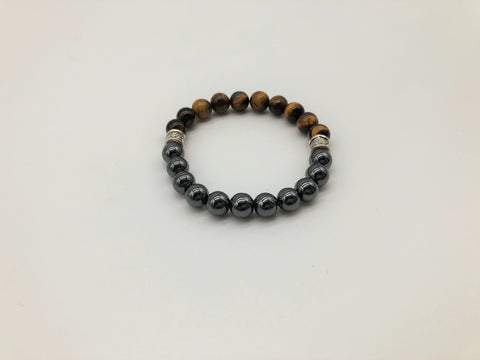 Gentleman's Tigers Eye & Hematite Bracelet Promoting Protection & negativity Deflection and Emotionally Grounding