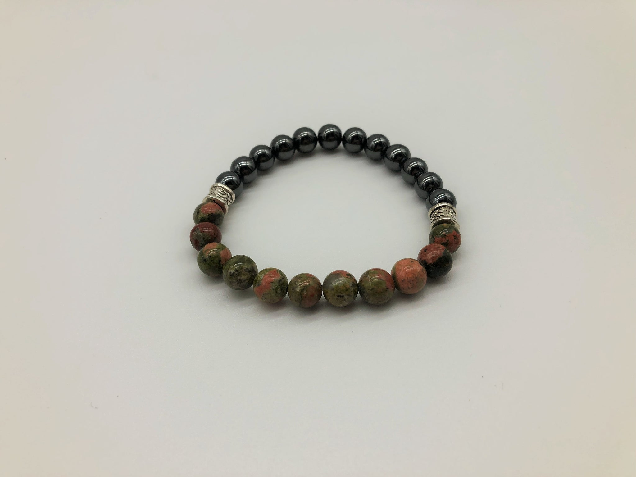 Gentleman's Unakite & Hematite Bracelet Promoting Physical & Emotional Wellness and Emotional Grounding