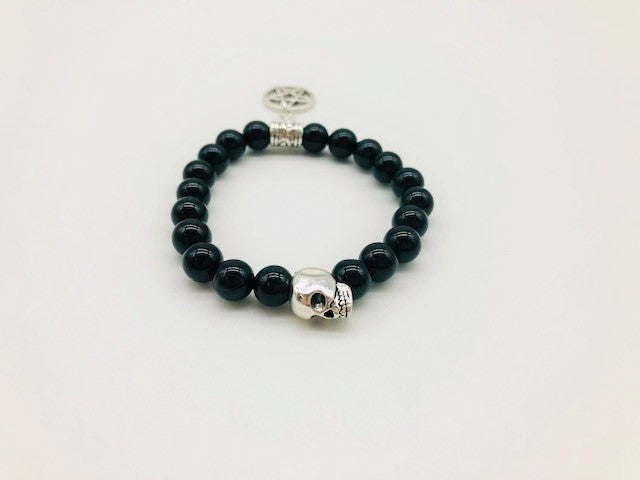 Wicca Black Onyx Ultimate Protection of Negative Energies Spell casting Bracelet