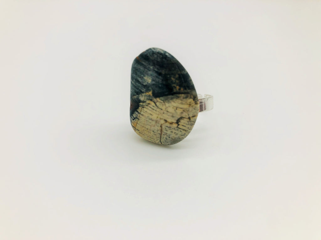 Silver Leaf Jasper Healing Ring emotionally grounding