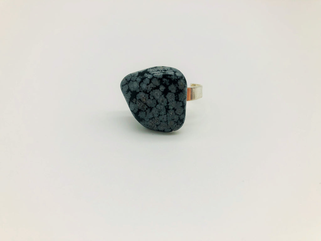 Snowflake Obsidian Healing Ring for Emotional Grounding
