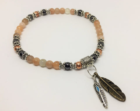 Moonstone, Copper & Magnetic Hematite Healing Anklet with feather charms