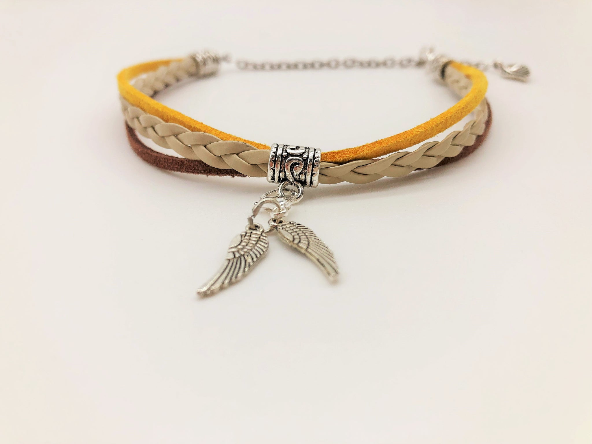 Rapeseed Field Faux Suede & Leather Anklet with Angel Wing charms