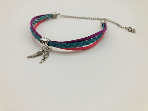Vibrant Flowers Faux suede & Leather Anklet with Angel Wing charms