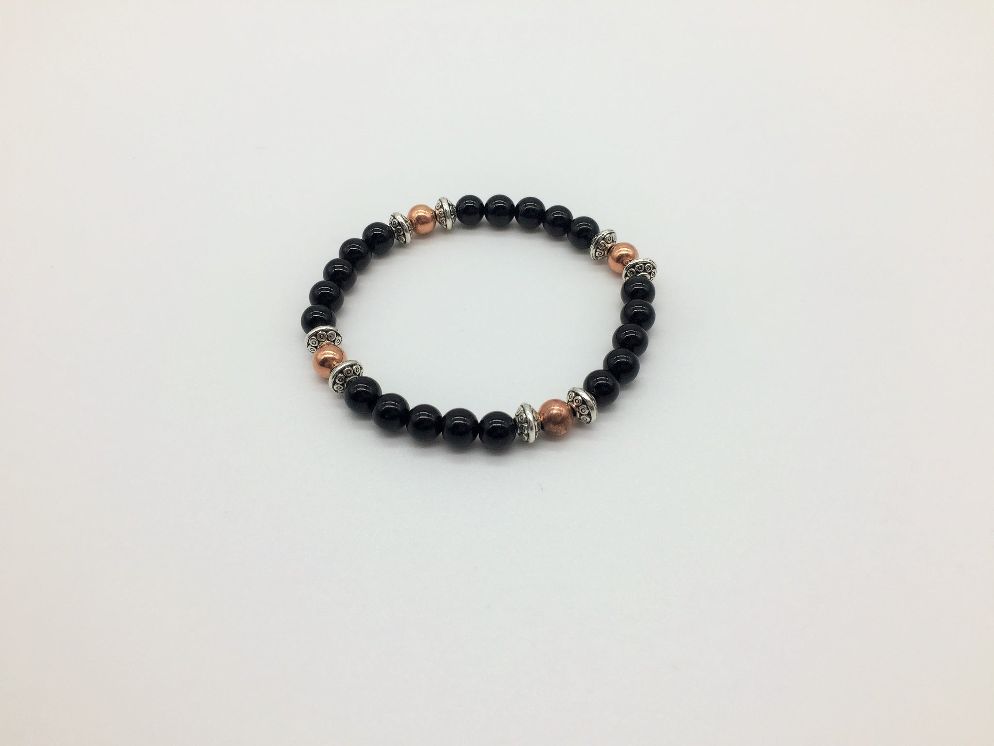 Positivity & Happiness Black Onyx & Copper healing bracelet