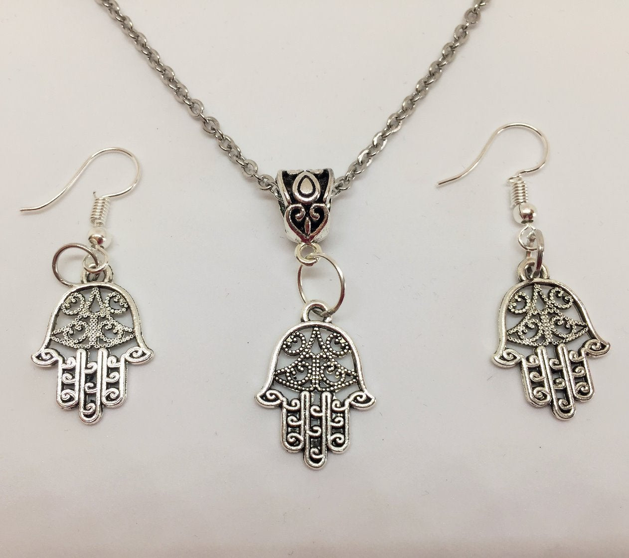 Hand of Hamsa Pendant & Earring Set