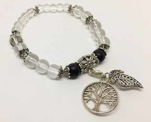 Clear Quartz Physical & Emotional Wellness Aroma Crystal  Healing Bracelet