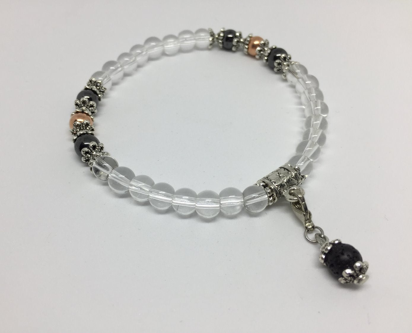 Physical & Emotional Wellness Clear Quartz, copper & magnetic Hematite Bracelet
