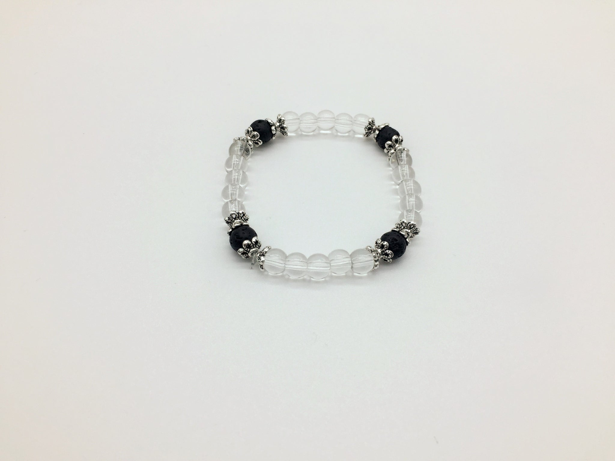 Crown Chakra Activating & Balancing Bracelet Clear Quartz & Lava