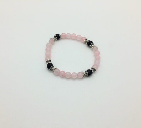Heart Chakra Activating & Balancing bracelet Rose Quartz & Lava