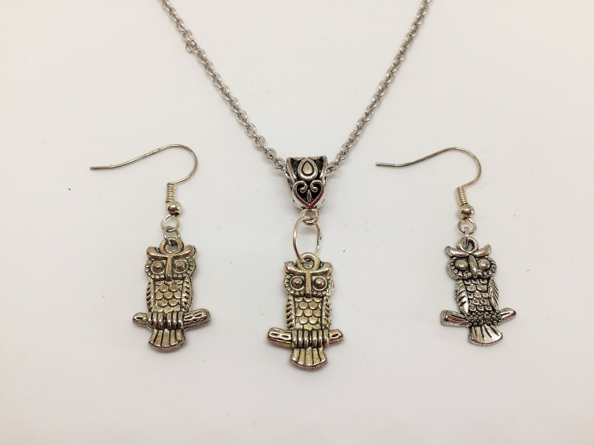Owl Pendant & Earring Set