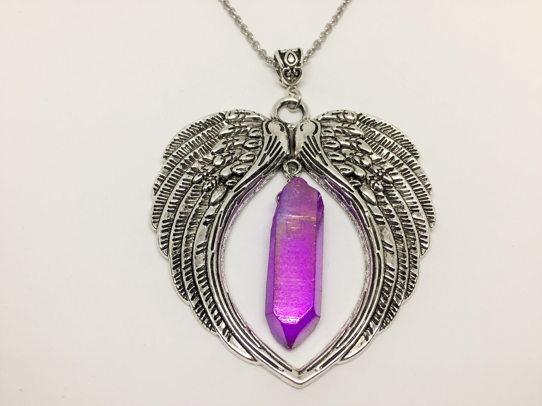 Angel Wing Pendant With Lavender Aura Quartz