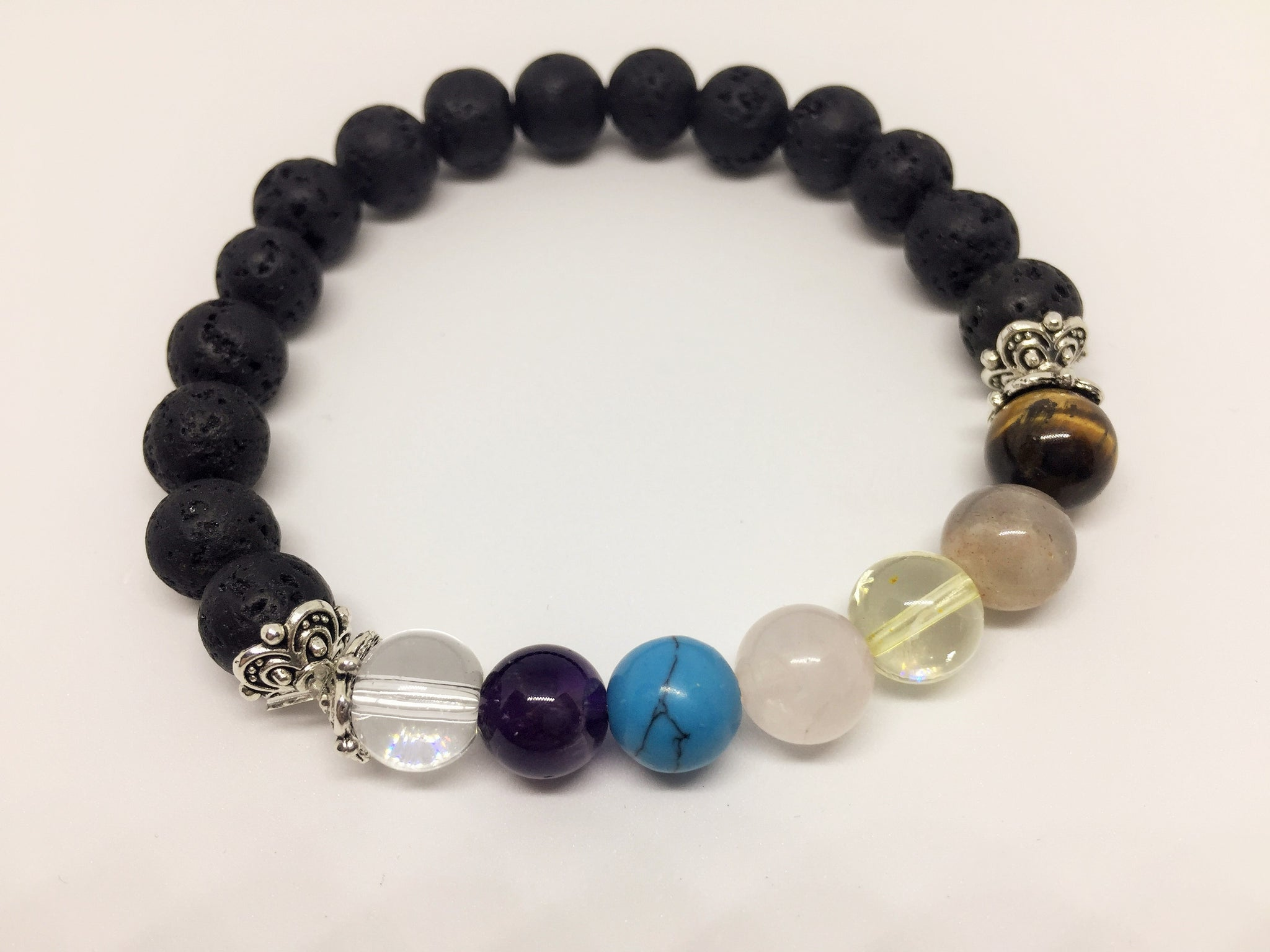 Chakra Balancing Bracelet with oil diffusing Lava beads