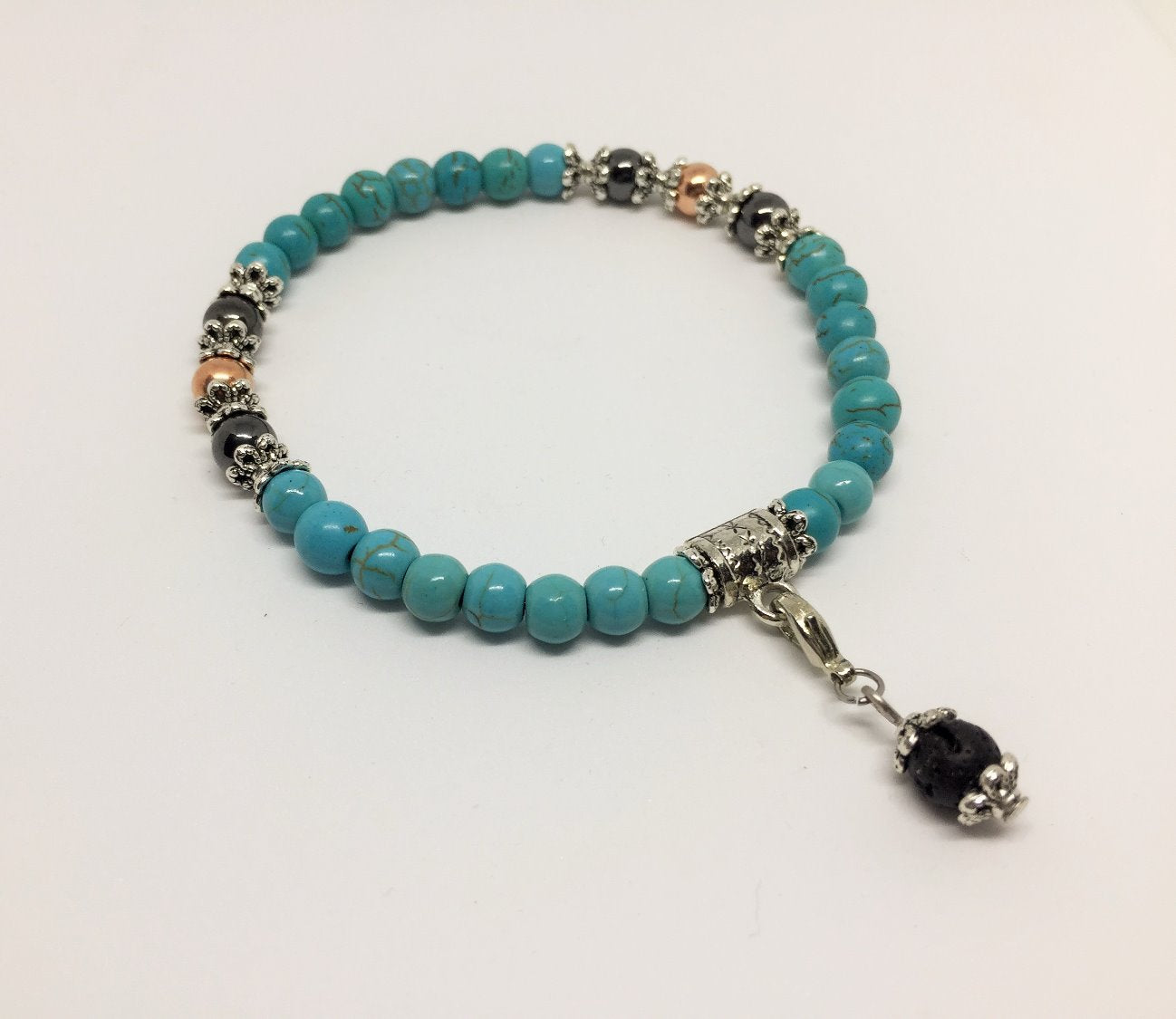 Positivity & Happiness Turquoise, copper & magnetic Hematite Healing Bracelet