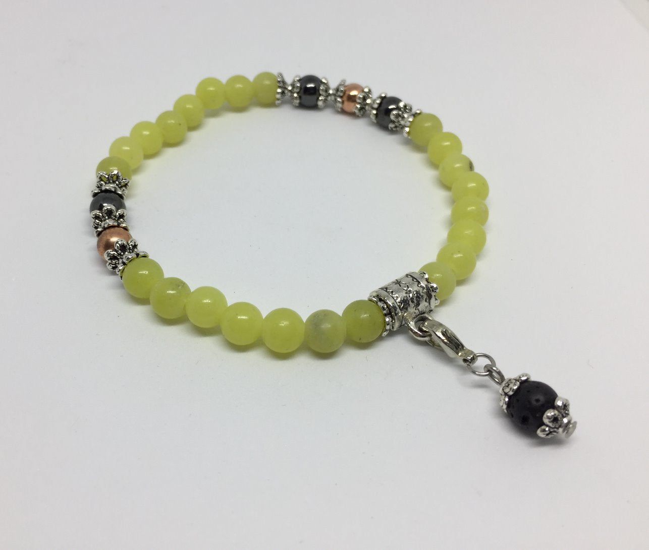 Motivational & Energising Peridot, copper & magnetic Hematite Healing Bracelet