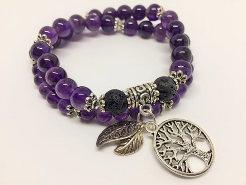 Aroma Creativity & Spiritual Awareness double wrap bracelet or choker - Amethyst