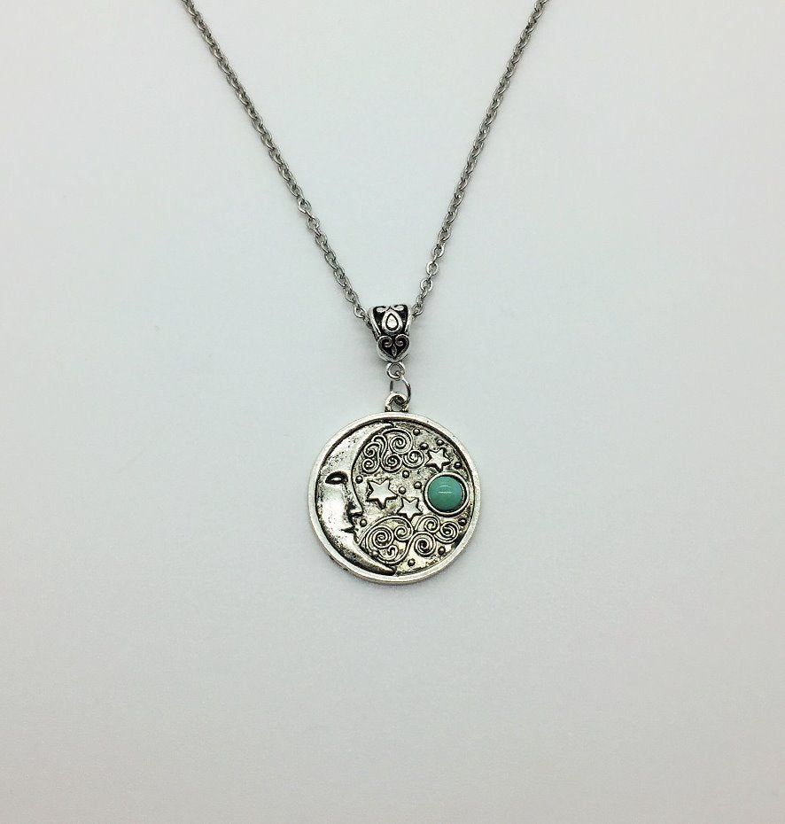 Crescent moon and stars pendant
