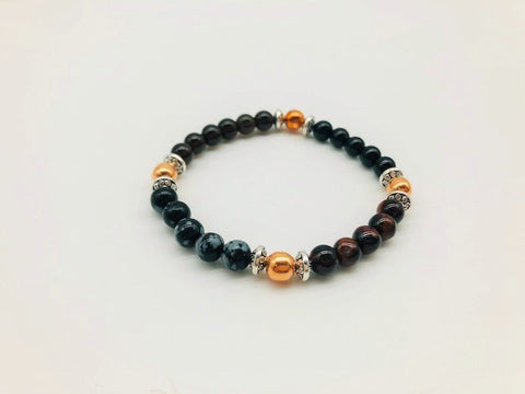 Protection & Negativity Deflection Bracelet With Copper, Black Tourmaline, Snowflake Obsidian, Tigers Eye and Smoky Quartz