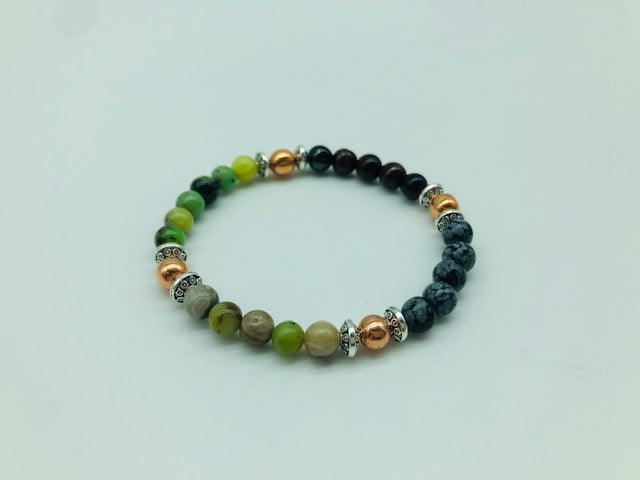 Emotionally Grounding Bracelet With Copper, Chrysoprase, Silver Leaf Jasper, Snowflake Obsidian and Tigers Eye