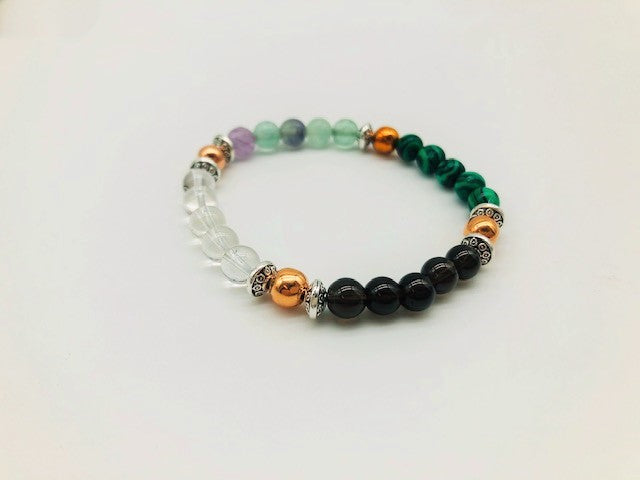 Physical & Emotional Wellness Bracelet With Copper, Flourite, Malachite, Clear Quartz and Smoky Quartz