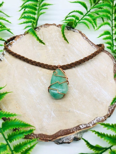 Copper Wrapped Green Aventurine Healing Pendant