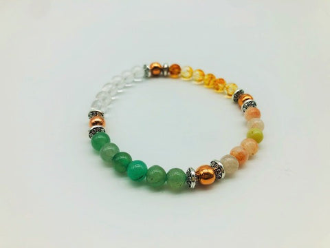 Wealth, Health & Prosperity Bracelet With Copper, Green Adventurine, Clear Quartz, Citrine and Sunstone