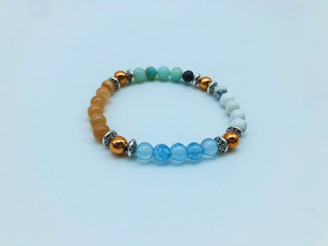 Total Calm & Balance Bracelet With Copper, Howlite, Moonstone, Aquamarine and Amazonite