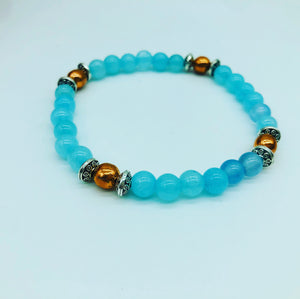 Aquamarine & copper bracelet