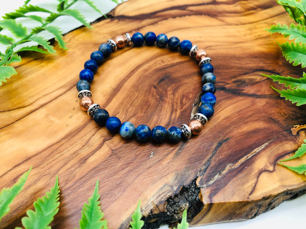 Lapis Lazuli & copper bracelet for Positivity& Happiness