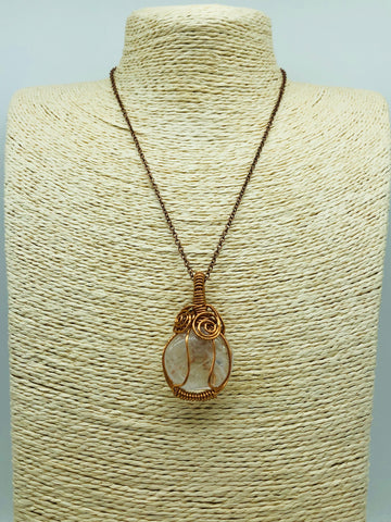Copper Wrapped Clear Quartz Pendant