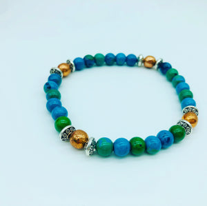 Chrysocolla & copper bracelet