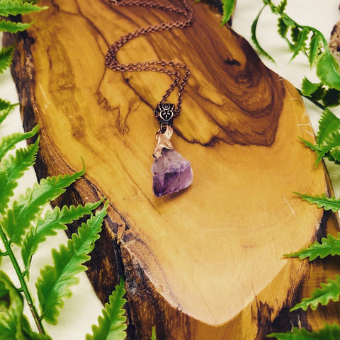Copper dipped raw amethyst pendant creativity & spiritual awareness