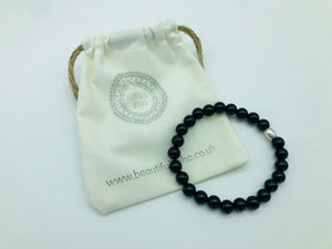 Positivity & Happiness Black Onyx large bead simply crystal bracelet