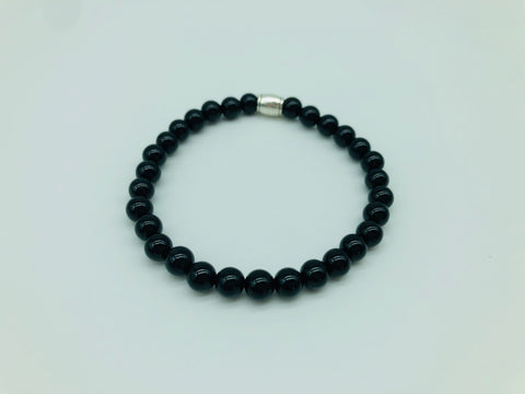 Positivity & Happiness Black Onyx small bead simply crystal bracelet