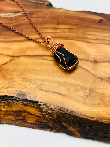 Copper wrapped Black Tourmaline emotionally grounding and Protection & Negativity deflection