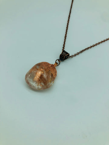 Copper 'dipped' Clear Quartz Crystal pendant