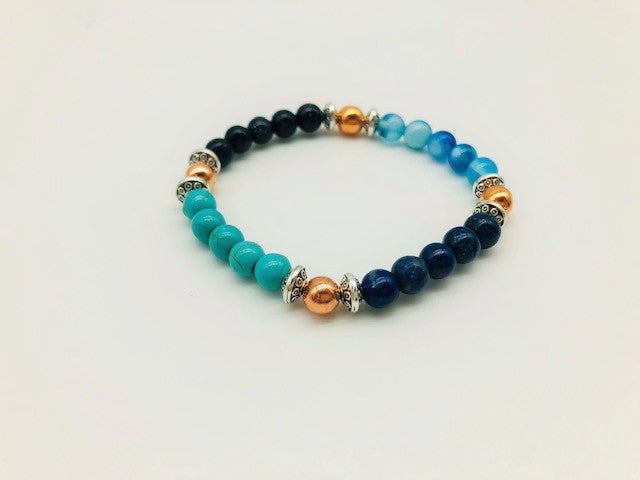 Positivity & Happiness Bracelet With Copper, Lapis Lazuli, Blue Goldstone, Blue Lace Agate and Turqoise