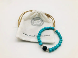 Turquoise Positivity & Happiness Simply crystal Aroma Healing Bracelet