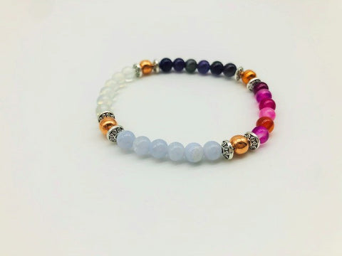 Creativity & Spiritual Awareness Bracelet With Copper, Opal, Blue Lace, Pink Agate and Amethyst