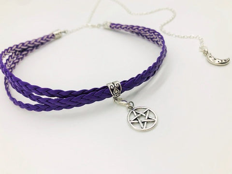 Wicca Faux Leather Purple Pentacle Choker