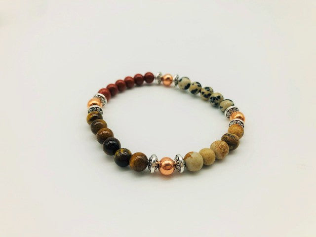 Creativity & Spiritual Awareness Bracelet With Copper, Red Jasper, Dalmatian Jasper, Kalahari Picture Stone and Tigers Eye