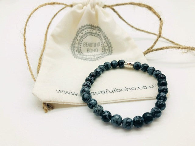Simply Crystal Snowflake Obsidian Emotionally Grounding Bracelet Small Bead Bead