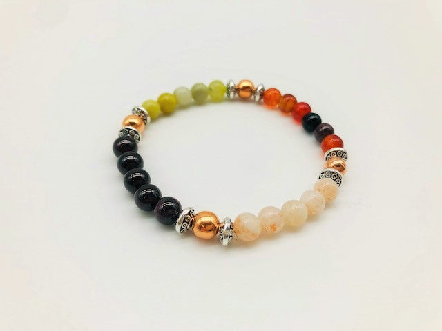 Motivational & Energising Bracelet With Copper, Sunstone, Carnelian and Peridot