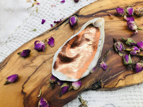 Copper lined Oyster Shell energizing Trinket dish
