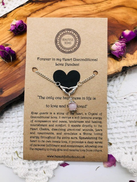 Forever In My Heart Rose Quartz Unconditional Love Pendant