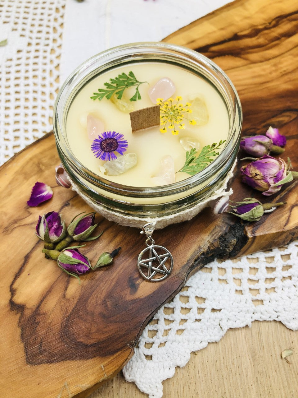 Protection & Negativity deflection Intention Scented Intention candle with crystals