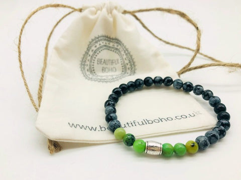 Simply Crystal Chrysoprase & Snowflake Obsidian Emotionally Grounding Bracelet Small Bead Bead